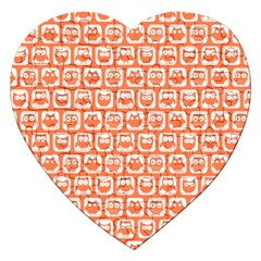 Coral And White Owl Pattern Jigsaw Puzzle (Heart)