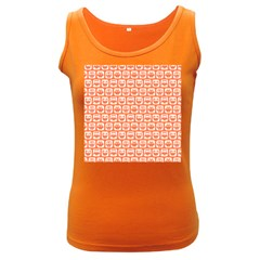 Coral And White Owl Pattern Women s Dark Tank Tops