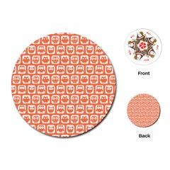 Coral And White Owl Pattern Playing Cards (Round)