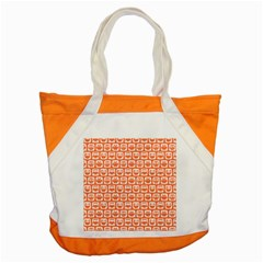 Coral And White Owl Pattern Accent Tote Bag