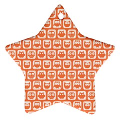 Coral And White Owl Pattern Star Ornament (Two Sides)