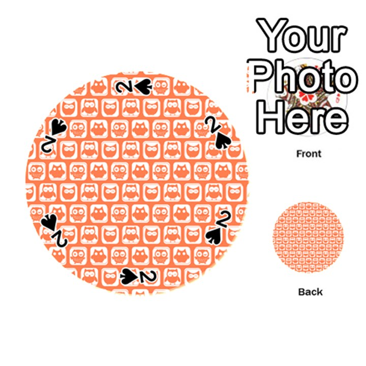 Coral And White Owl Pattern Playing Cards 54 (Round)
