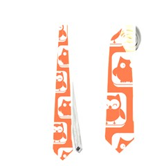Coral And White Owl Pattern Neckties (one Side)