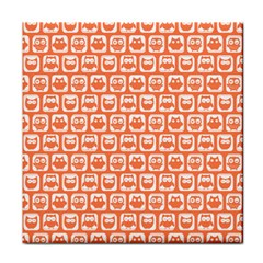 Coral And White Owl Pattern Face Towel