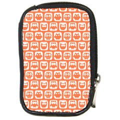 Coral And White Owl Pattern Compact Camera Cases