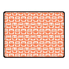 Coral And White Owl Pattern Fleece Blanket (Small)