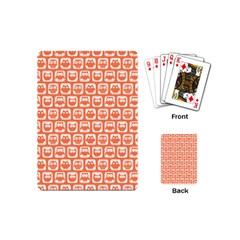 Coral And White Owl Pattern Playing Cards (Mini)