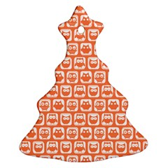 Coral And White Owl Pattern Ornament (Christmas Tree)