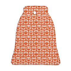 Coral And White Owl Pattern Bell Ornament (2 Sides)