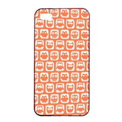 Coral And White Owl Pattern Apple iPhone 4/4s Seamless Case (Black)