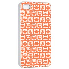 Coral And White Owl Pattern Apple iPhone 4/4s Seamless Case (White)