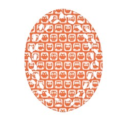 Coral And White Owl Pattern Ornament (Oval Filigree)