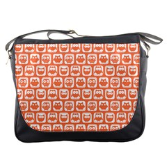 Coral And White Owl Pattern Messenger Bags