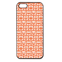 Coral And White Owl Pattern Apple iPhone 5 Seamless Case (Black)