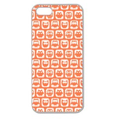 Coral And White Owl Pattern Apple Seamless iPhone 5 Case (Clear)