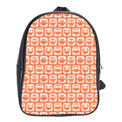Coral And White Owl Pattern School Bags (XL)