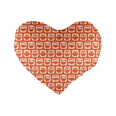 Coral And White Owl Pattern Standard 16  Premium Heart Shape Cushions