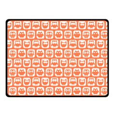 Coral And White Owl Pattern Double Sided Fleece Blanket (Small)