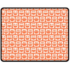 Coral And White Owl Pattern Double Sided Fleece Blanket (Medium)
