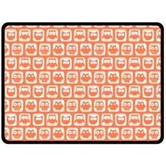 Coral And White Owl Pattern Double Sided Fleece Blanket (Large)