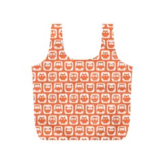 Coral And White Owl Pattern Full Print Recycle Bags (S)