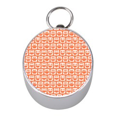 Coral And White Owl Pattern Mini Silver Compasses