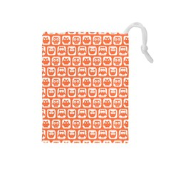 Coral And White Owl Pattern Drawstring Pouches (Medium)