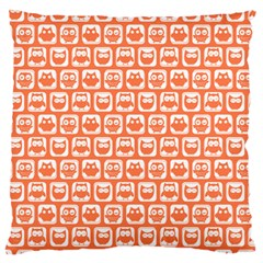 Coral And White Owl Pattern Large Flano Cushion Cases (One Side)