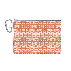 Coral And White Owl Pattern Canvas Cosmetic Bag (M)