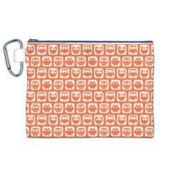 Coral And White Owl Pattern Canvas Cosmetic Bag (XL)