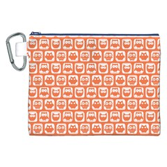 Coral And White Owl Pattern Canvas Cosmetic Bag (XXL)