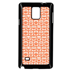 Coral And White Owl Pattern Samsung Galaxy Note 4 Case (Black)