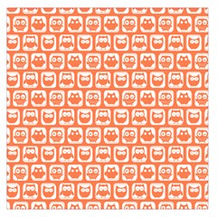 Coral And White Owl Pattern Large Satin Scarf (Square)