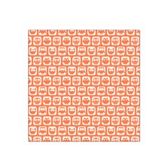 Coral And White Owl Pattern Satin Bandana Scarf