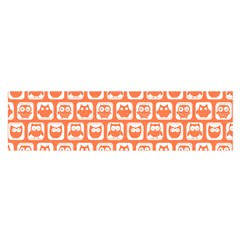 Coral And White Owl Pattern Satin Scarf (Oblong)