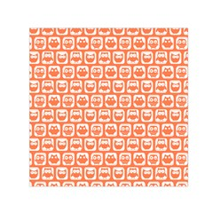 Coral And White Owl Pattern Small Satin Scarf (Square)