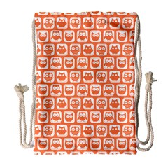 Coral And White Owl Pattern Drawstring Bag (Large)
