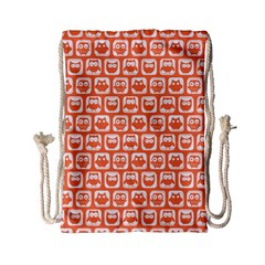 Coral And White Owl Pattern Drawstring Bag (Small)