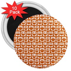 Orange And White Owl Pattern 3  Magnets (10 pack)