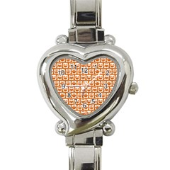 Orange And White Owl Pattern Heart Italian Charm Watch
