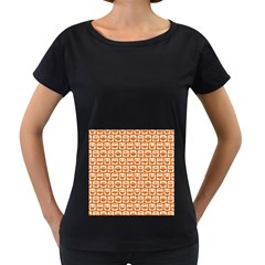 Orange And White Owl Pattern Women s Loose Fit T Shirt (black)