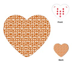 Orange And White Owl Pattern Playing Cards (Heart)