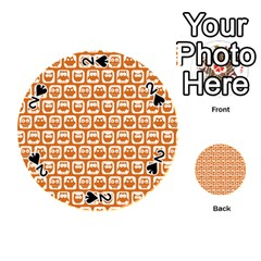 Orange And White Owl Pattern Playing Cards 54 (round)