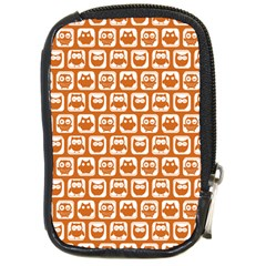 Orange And White Owl Pattern Compact Camera Cases