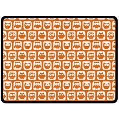 Orange And White Owl Pattern Fleece Blanket (Large)