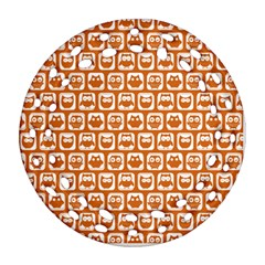 Orange And White Owl Pattern Round Filigree Ornament (2Side)