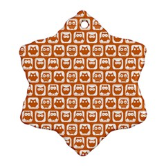 Orange And White Owl Pattern Snowflake Ornament (2-Side)