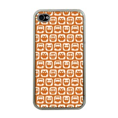 Orange And White Owl Pattern Apple iPhone 4 Case (Clear)