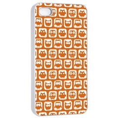 Orange And White Owl Pattern Apple iPhone 4/4s Seamless Case (White)