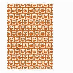 Orange And White Owl Pattern Small Garden Flag (Two Sides)